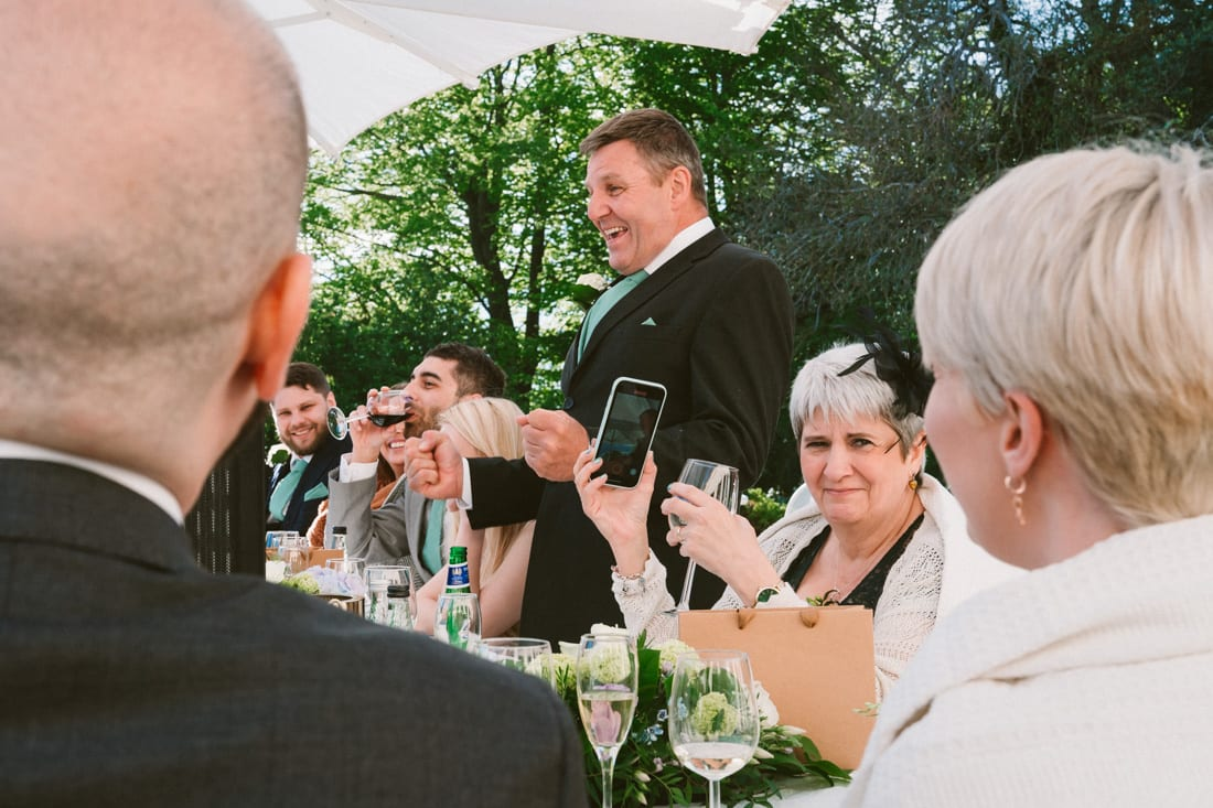 the wedding speeches on the terrace at Pembroke Lodge in Richmond Park